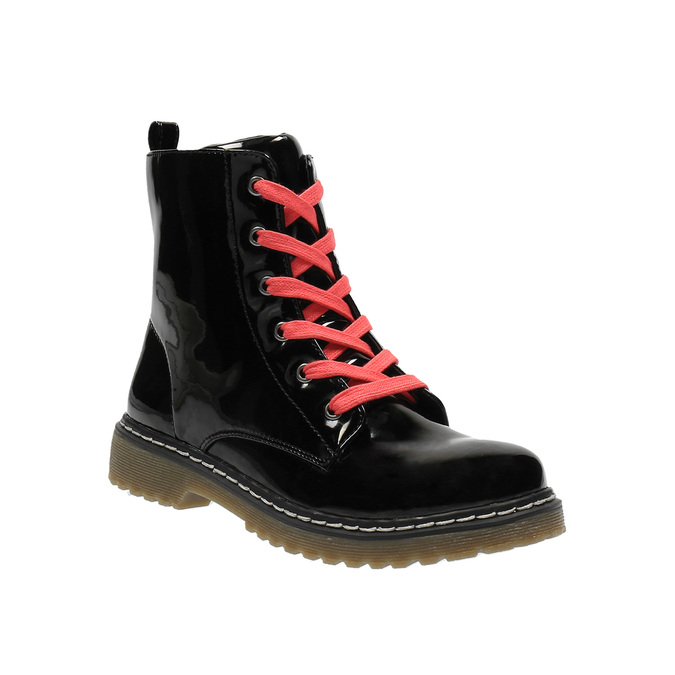 Dívčí kotníčková obuv s růžovým šněrováním mini-b, černá, 321-6600 - 13