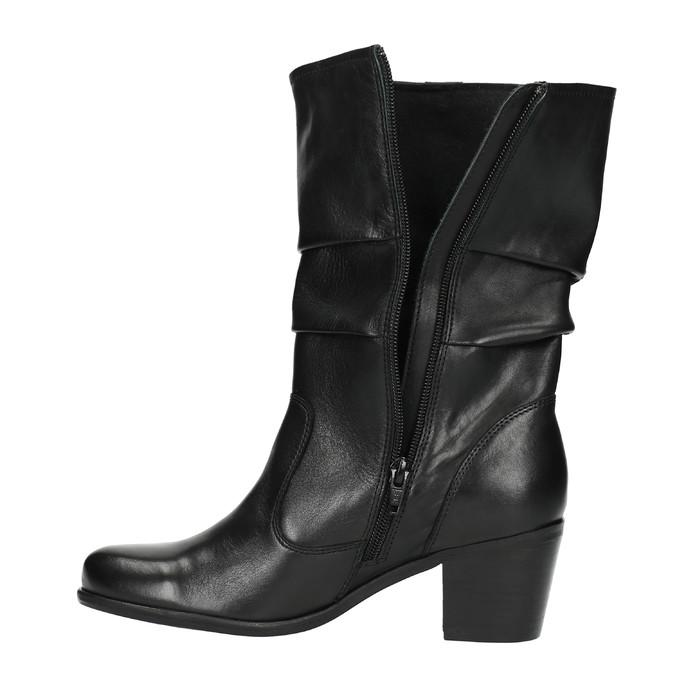 Černé kožené kozačky bata, černá, 694-6601 - 26
