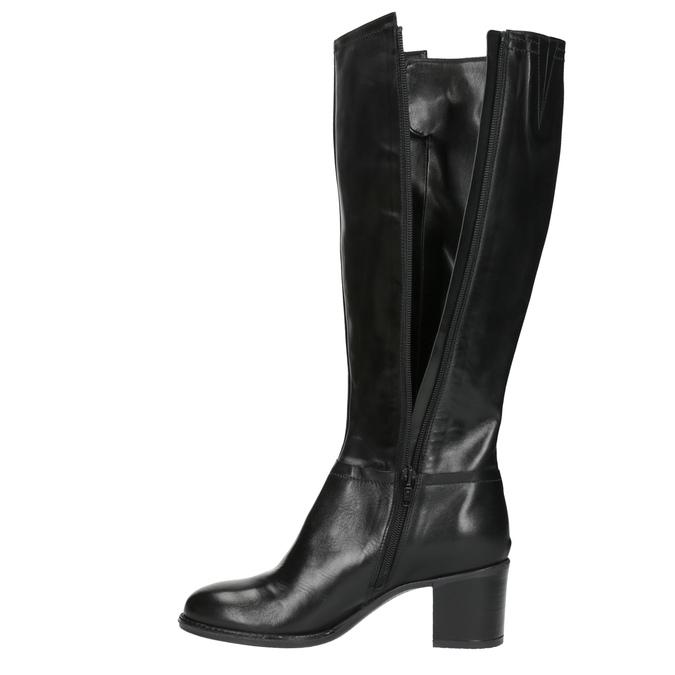 Dámské kozačky na stabilním podpatku bata, černá, 694-6361 - 19
