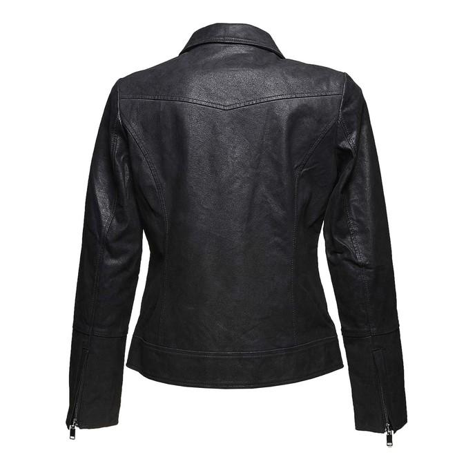 Dámská kožená bunda s límečkem bata, černá, 973-6107 - 26