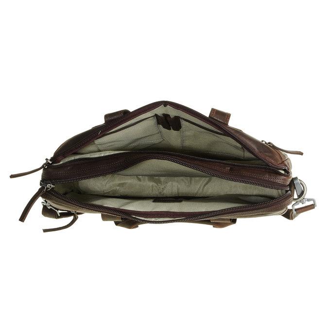 Kožená taška se zipem bata, hnědá, 964-4101 - 15