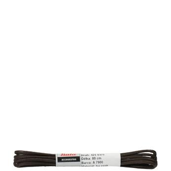 Tmavě hnědé kulaté voskované tkaničky o délce 80 cm bata, hnědá, 901-4803 - 13