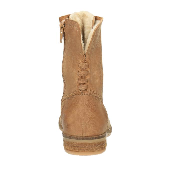 Kožená kotníčková obuv se zateplením bata, hnědá, 596-3610 - 17