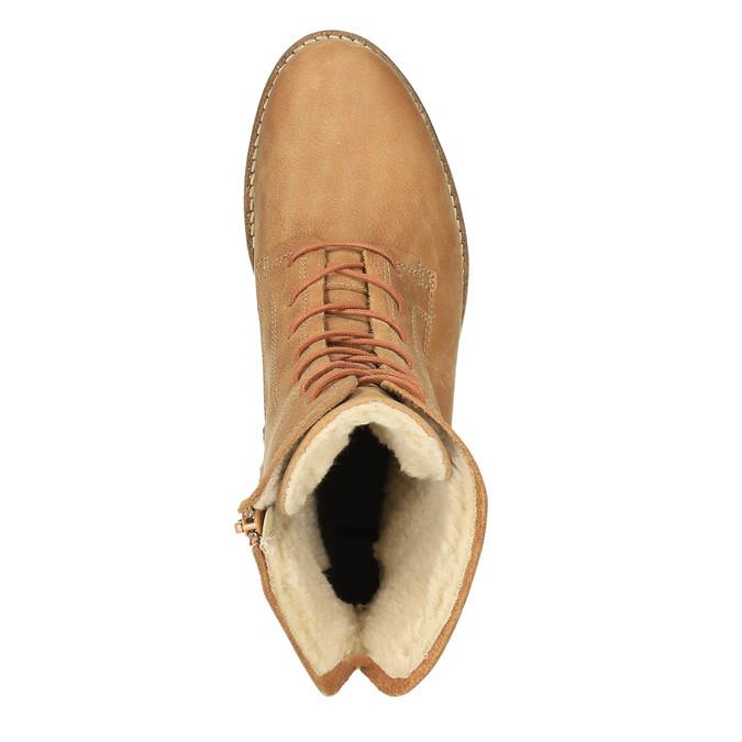 Kožená kotníčková obuv se zateplením bata, hnědá, 596-3610 - 19