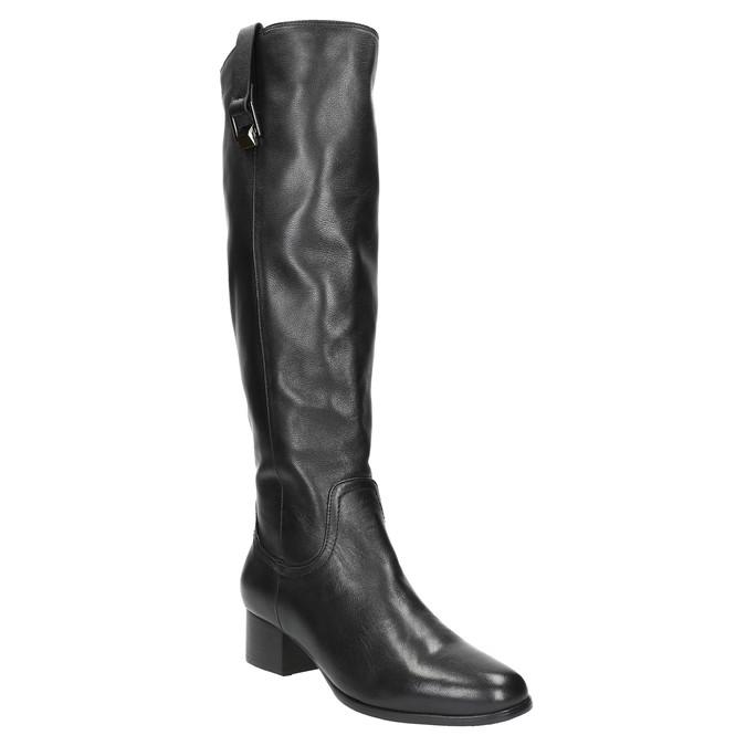 Dámské kožené kozačky na nízkém podpatku bata, černá, 694-6631 - 13