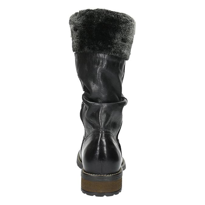 Dámské kožené kozačky se zateplením bata, černá, 594-6612 - 17