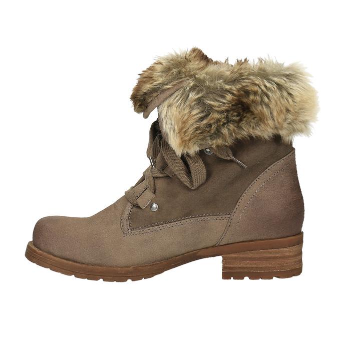 Dámská zimní obuv s kožíškem bata, hnědá, 591-3605 - 26