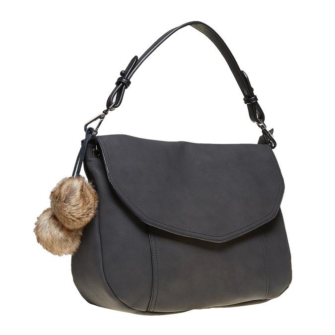 Dámská kabelka s Pom Pom ozdobou bata, černá, 961-6244 - 13