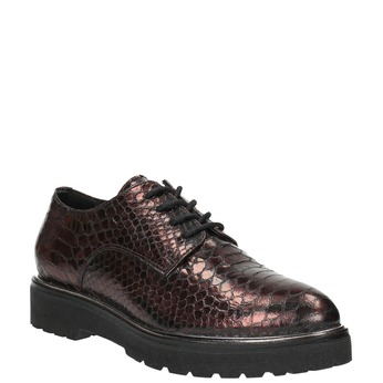 Metalické kožené polobotky na výrazné podešvi bata, červená, 526-5607 - 13