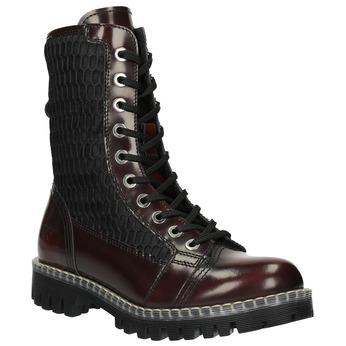 Kožená šněrovací obuv na výrazné podešvi weinbrenner, červená, 596-5635 - 13