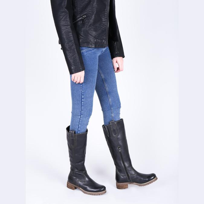 Kožené kozačky s masivní podešví bata, černá, 594-6613 - 18