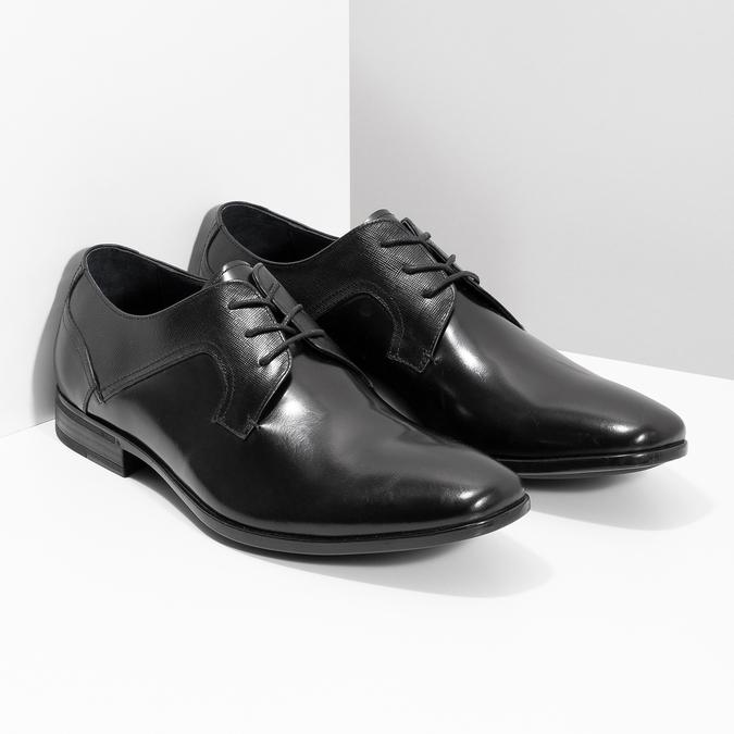 Kožené černé pánské polobotky bata, černá, 824-6758 - 26
