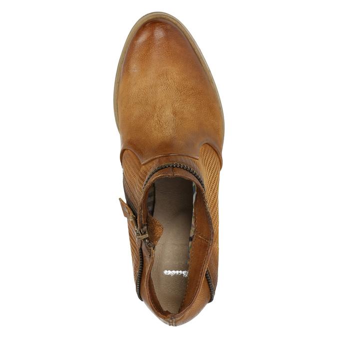 Kožené kotníčkové kozačky s rozevřeným zipem bata, hnědá, 796-4641 - 19