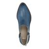 Kožené kotníčkové kozačky s perforací bata, modrá, 596-9647 - 19