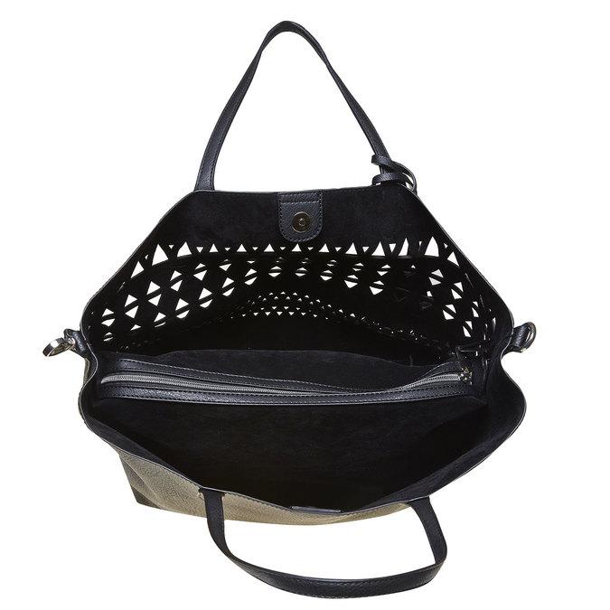 Dámská kabelka s perforací bata, černá, 961-6274 - 15