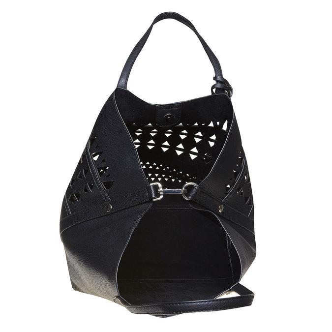 Dámská kabelka s perforací bata, černá, 961-6274 - 19