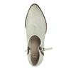 Kožené kotníčkové kozačky s perforací bata, bílá, 596-1647 - 19