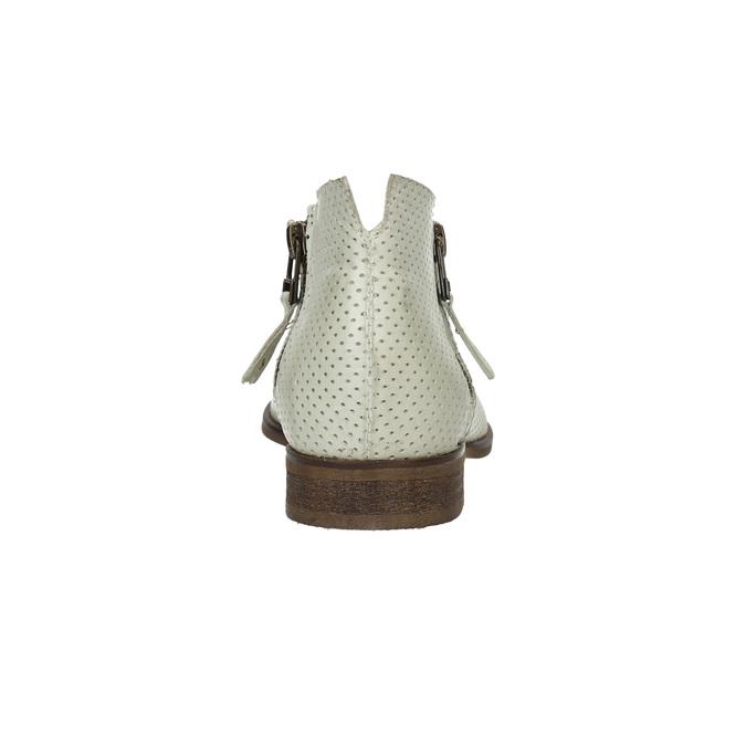 Kožené kotníčkové kozačky s perforací bata, bílá, 596-1647 - 17