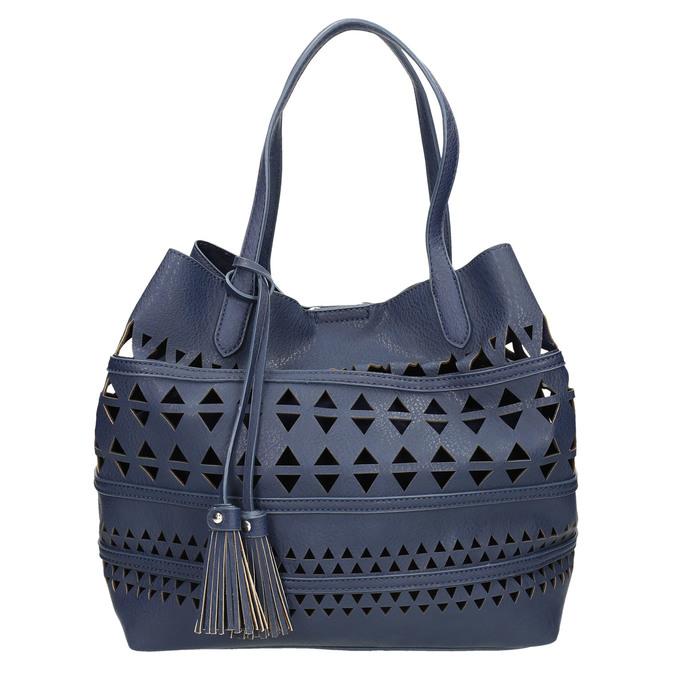 Modrá kabelka se střapci bata, modrá, 961-9274 - 26