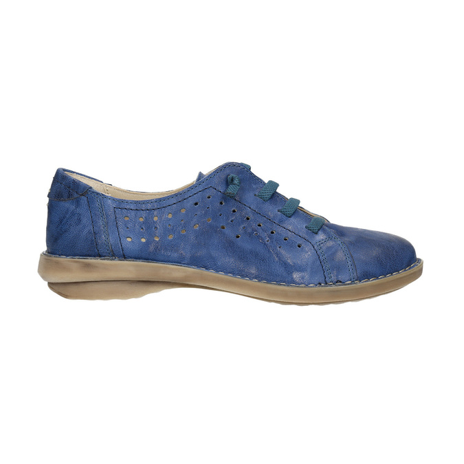 Modré kožené polobotky v ležérním stylu bata, modrá, 526-9624 - 15