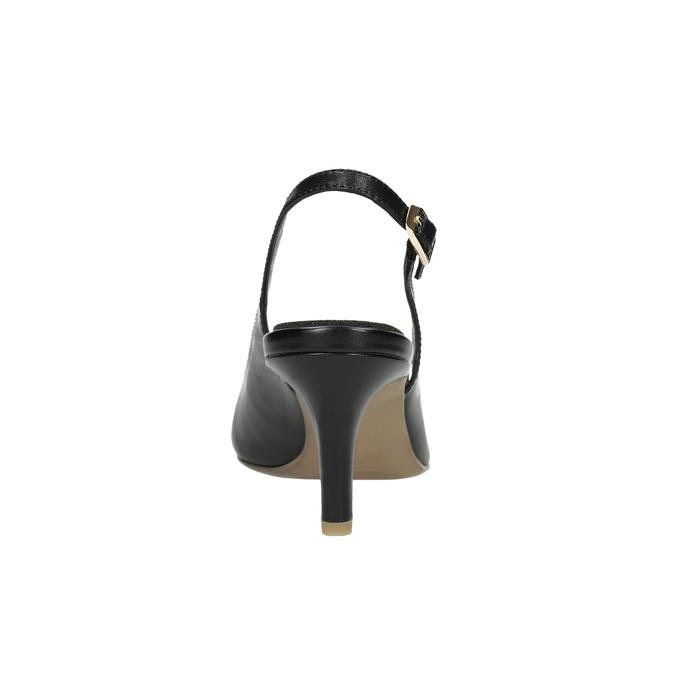 Kožené lodičky ve stylu Sling-back pillow-padding, černá, 624-6638 - 17