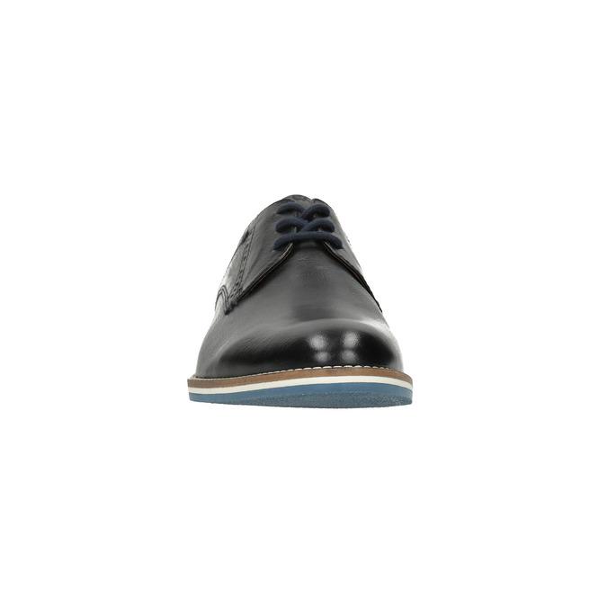 Kožené polobotky s pruhovanou podešví bata, černá, 826-6790 - 18