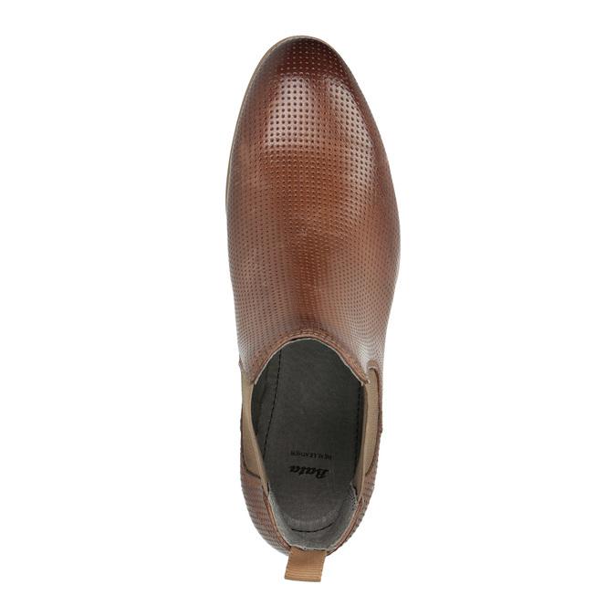 Kožené kotníčkové Chelsea Boots s perforací bata, hnědá, 596-4644 - 19