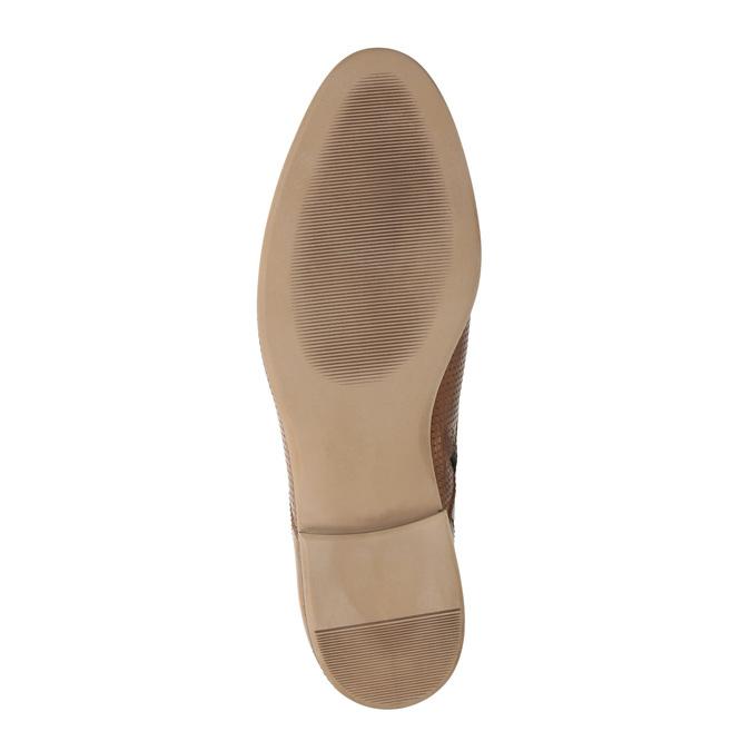 Kožená kotníčková obuv s perforací bata, hnědá, 596-4645 - 26