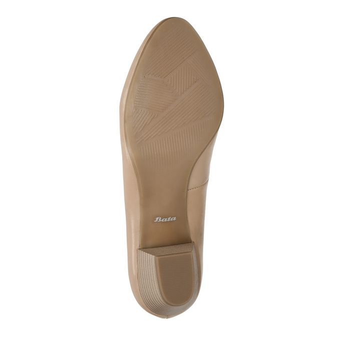 Kožené lodičky na nižším podpatku bata, béžová, 626-8637 - 26