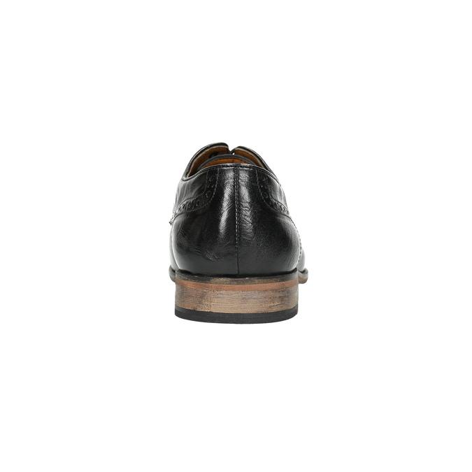 Kožené černé polobotky s Brogue zdobením bata, černá, 826-6795 - 17