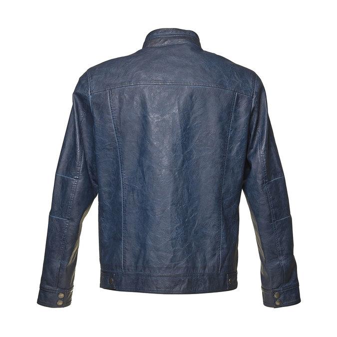 Koženková pánská bunda bata, modrá, 971-9194 - 26
