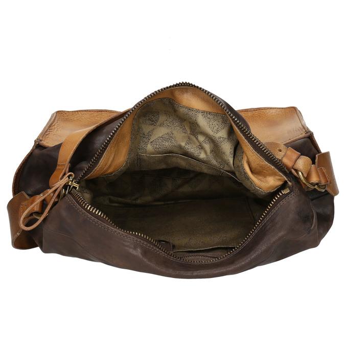 Kožená kabelka s masivním popruhem a-s-98, hnědá, 966-4038 - 15