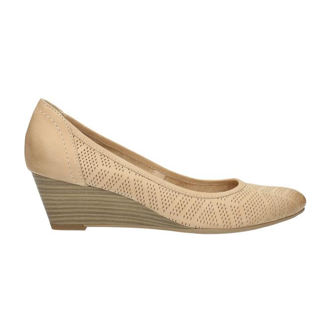 Kožené lodičky na klínovém podpatku bata, béžová, 626-8638 - 15