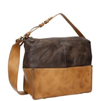 Kožená kabelka s masivním popruhem a-s-98, hnědá, 966-4038 - 13