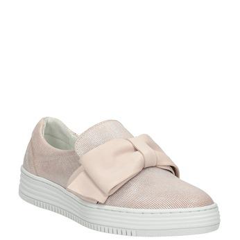 Kožená Slip-on obuv s mašlí bata, růžová, 516-5605 - 13