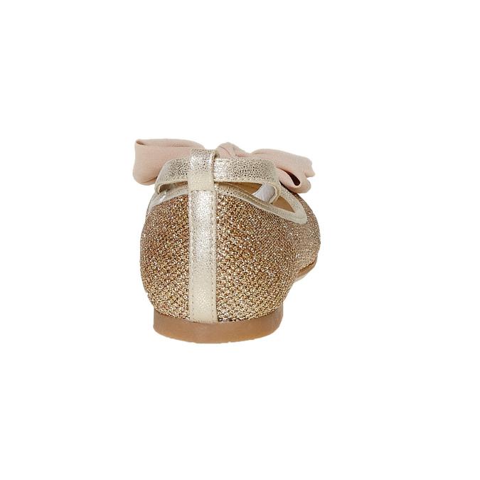 Dívčí baleríny s mašlí mini-b, zlatá, 329-8241 - 17
