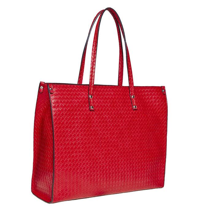 Červená kabelka s pleteným vzorem bata, červená, 961-5289 - 13