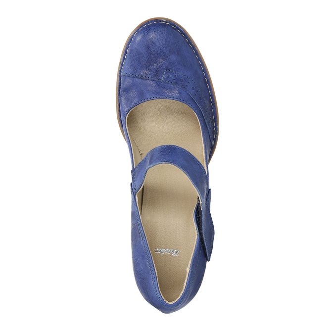 Kožené lodičky s páskem přes nárt bata, modrá, 626-9641 - 19