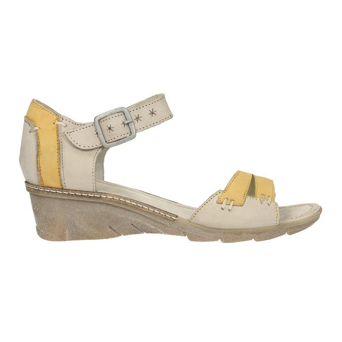 Kožené sandály na klínku bata, šedá, 626-2642 - 15