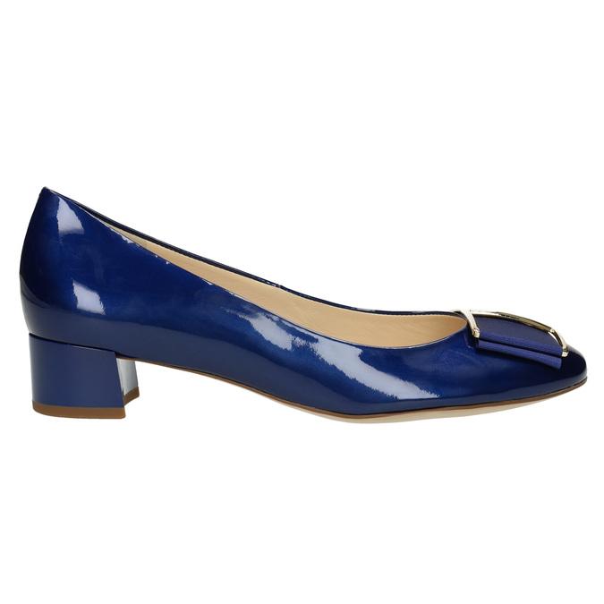 Kožené lodičky s mašlí hogl, modrá, 628-9400 - 15