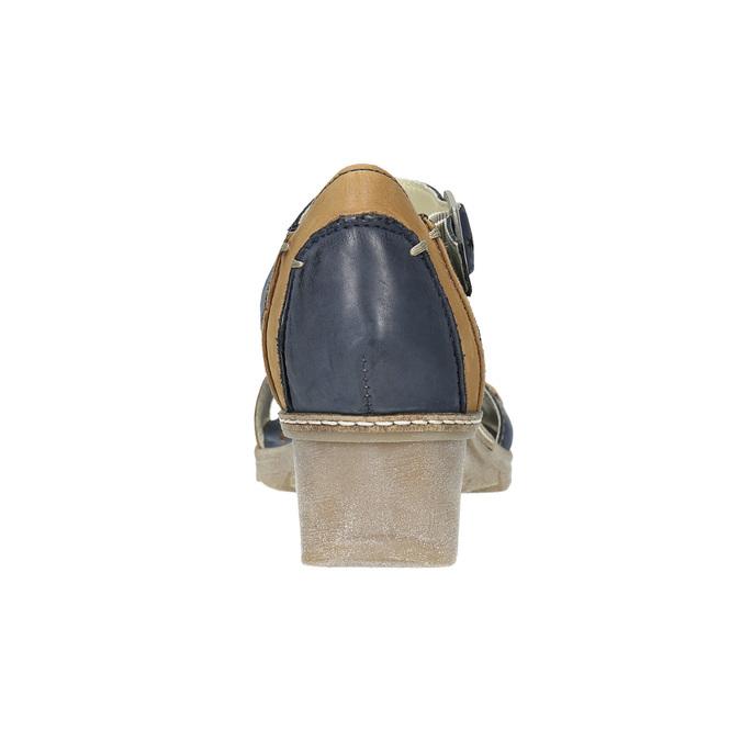 Kožené sandály na klínku bata, modrá, 626-9642 - 17