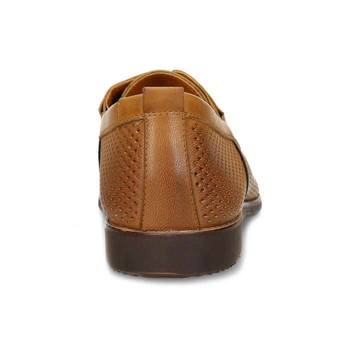 Kožené ležérní polobotky s perforací bata, hnědá, 856-3601 - 15