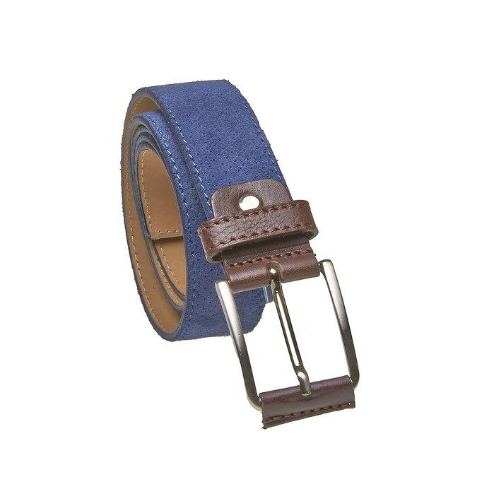 Kožený pánský pásek s perforací bata, modrá, 953-9325 - 13