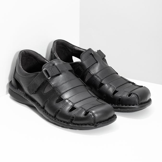 Pánské kožené sandály černé bata, černá, 864-6600 - 26