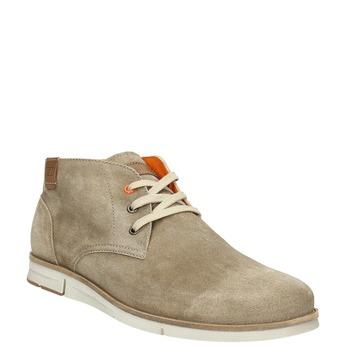 Kotníčková obuv z broušené kůže weinbrenner, béžová, 843-4625 - 13