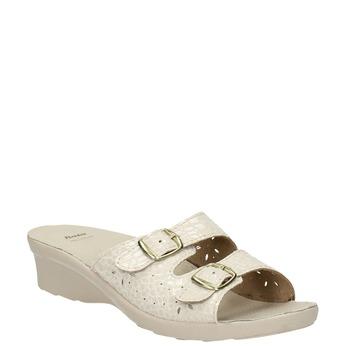 Dámská domácí obuv na podpatku bata, béžová, 579-8611 - 13