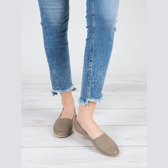 Dámská kožená Slip-on obuv bata, hnědá, 516-2602 - 18