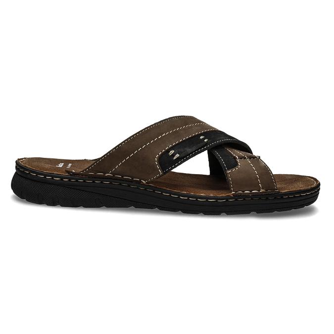 Kožené pánské letní nazouváky bata, hnědá, 866-4612 - 19