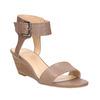 Kožené sandály na klínku bata, hnědá, 666-4607 - 13