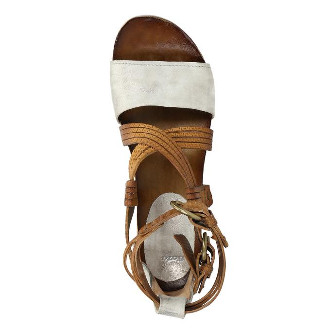 Kožené sandály na flatformě bata, hnědá, 666-1605 - 19
